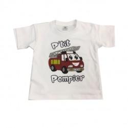 "Tee-shirt blanc ""Ptit Pompier"""